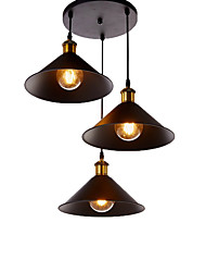 cheap -3-Light Vintage Industrial Metal Shade Pendant Lamp 3-Head Chandelier Living Room Dining Room