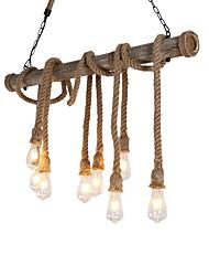 cheap -8-Head 100cm Vintage Hemp Rope With Bamboo Pendant Lights Loft Creative Living Room Restaurant Clothing Store Lamp