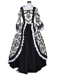 cheap -Rococo Victorian Costume Women's Dress Black & White Vintage Cosplay Flocked 3/4 Length Sleeve Puff / Balloon Sleeve / Floral