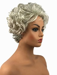 cheap -Synthetic Wig Curly Curly Pixie Cut Wig Short Grey Synthetic Hair Women's White StrongBeauty