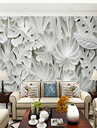 cheap -3D Big Leaves Illustration Custom Large Wall Covering Mural Wallpaper Fit Bedroom Bedroom TV Background