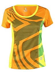 cheap -Women's Hiking Tee shirt Short Sleeve Crew Neck Tee Tshirt Top Outdoor Quick Dry Breathable Fitness Back Country Summer POLY Solid Color Yellow Fuchsia Blue Camping / Hiking Outdoor Exercise