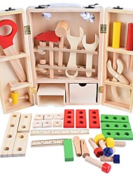 cheap -Pretend Play Toy Tool Educational Toy Boys' Girls' Exquisite Kid's Wooden Child Carpenter Construction Tool Box