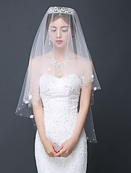 cheap -One-tier Contemporary Wedding Veil Elbow Veils with Ruched Lace / Classic