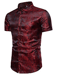 cheap -Men's Solid Colored Shirt Luxury Daily Holiday Standing Collar Wine / White / Purple / Navy Blue / Summer / Short Sleeve