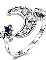 cheap -Band Ring Cubic Zirconia Silver Sterling Silver Zircon Gold Plated Moon Ladies Classic Vintage Adjustable / Women's