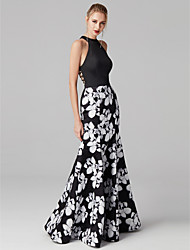 cheap -Mermaid / Trumpet Halter Neck Floor Length Satin / Jersey Floral / Beautiful Back / Elegant Prom / Formal Evening Dress 2020 with Pattern / Print / Cut Out