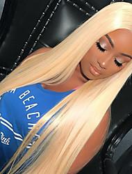 Недорогие -человеческие волосы Remy Бесклеевая кружевная лента Лента спереди Парик Kardashian стиль Бразильские волосы Прямой Парик 150% Плотность волос с детскими волосами Природные волосы 100% девственница