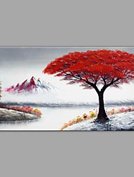 cheap -Oil Painting Hand Painted - Landscape / Floral / Botanical Comtemporary / Modern Stretched Canvas 100 x 50 cm