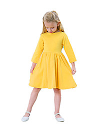 cheap -Toddler Girls' Simple / Vintage / Basic Daily / Going out Solid Colored Long Sleeve Cotton / Acrylic Dress Navy Blue 2-3 Years(100cm)