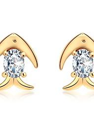 cheap -Women's Diamond Cubic Zirconia Stud Earrings Fish Animal Ladies Fashion Zircon Earrings Jewelry Gold / Silver For Daily Office & Career