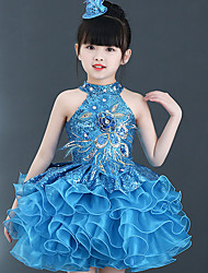 cheap -Ballet Dresses Performance Polyester Pattern / Print / Tiered / Crystals / Rhinestones Sleeveless High Dress