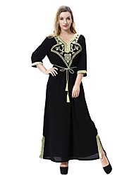 cheap -Women's Plus Size Basic / Boho Loose Loose Dress - Solid Color Maxi V Neck