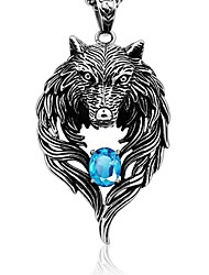 cheap -Men's Cubic Zirconia Pendant Solitaire Wolf Ladies Rock Gothic Chunky Titanium Silver Necklace Jewelry For Daily Street