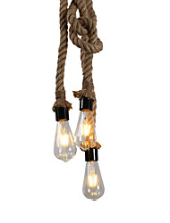 cheap -3-Light 2m 3-Head Hemp Rope Pendant Light Ceiling Lamp DIY Industrial Vintage Country Style For Restaurant Cafe Bar