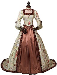 cheap -Rococo Victorian 18th Century Dress Women's Costume Brown Vintage Cosplay Party Prom 3/4 Length Sleeve Ball Gown / Floral
