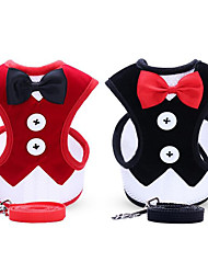 cheap -Dogs Pets Leash Dog Clothes Black Red Costume Husky Border Collie Japanese Spitz Fabric Solid Colored Classic Bowknot Ordinary Classic Style S M L