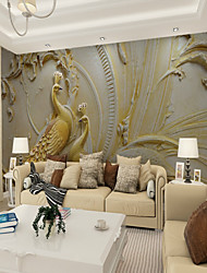 cheap -Mural Wallpaper Wall Sticker Covering Print Adhesive Required 3D Relief Effect Peacock Bird Canvas Home Décor