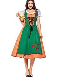 cheap -Halloween Oktoberfest Beer Dirndl Trachtenkleider Women's Dress Shorts Bavarian Costume Green