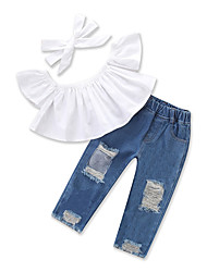 cheap -Toddler Girls' Casual Street chic Daily Going out Solid Colored Ruched Ripped Denim Short Sleeve Regular Regular Cotton Clothing Set White