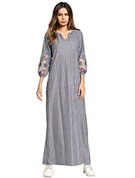 cheap -Women's Fine Stripe Daily Maxi Shift Dress - Striped / Floral / Color Block Embroidered / Basic V Neck Spring Gray L XL XXL