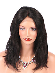 cheap -Virgin Human Hair Lace Front Wig Brazilian Hair Water Wave Wig 130% Natural Hairline Women's Mid Length Human Hair Lace Wig
