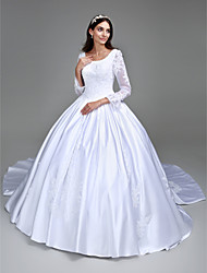 cheap -Ball Gown Scoop Neck Cathedral Train Satin Long Sleeve Made-To-Measure Wedding Dresses with Beading / Appliques 2020 / Illusion Sleeve