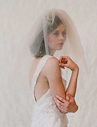 cheap -Two-tier Japan and Korea Style Wedding Veil Shoulder Veils with Crystals / Rhinestones Tulle / Drop Veil