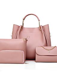cheap -Women's Sequin Leather Bag Set Solid Color 4 Pieces Purse Set Black / Dark Brown / Wine