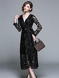 cheap -Women's Velvet Black Dress Vintage Street chic Spring Party Going out A Line Geometric V Neck M L Slim