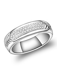 cheap -Women's Band Ring Eternity Band Ring Cubic Zirconia Silver Zircon Silver Plated Circle Geometric Vintage Fashion Wedding Evening Party Jewelry