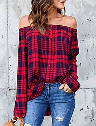 cheap -Women's Plaid Shirt - Cotton Street chic Holiday Going out Off Shoulder Black / Red