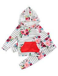 cheap -Baby Girls' Casual Daily Print Long Sleeve Cotton Clothing Set Blushing Pink