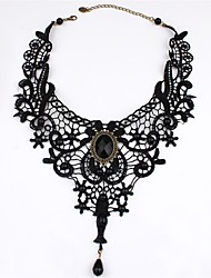 cheap -Tattoo Choker Necklace Lolita Accessories Solid Color Vintage Gothic Lolita Rococo Lace Artificial Gemstones For Black Swan Black Cosplay Women's Girls' Costume Jewelry Fashion Jewelry / Victorian