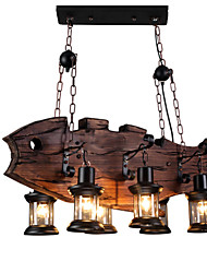 cheap -6-Light 90 cm Mini Style Pendant Light Wood / Bamboo Industrial Painted Finishes Artistic / Vintage 110-120V / 220-240V
