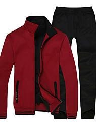 cheap -Men's Full Zip Tracksuit Sweatsuit Casual Long Sleeve Fleece Thermal / Warm Fleece Lining Warm Running Fitness Jogging Sportswear Plus Size Clothing Suit Dark Grey Red Light Grey Activewear / Cotton