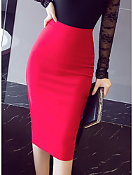 cheap -Women's Daily / Work Bodycon / Trumpet / Mermaid Skirts - Solid Colored Black Red XXXL XXXXL XXXXXL