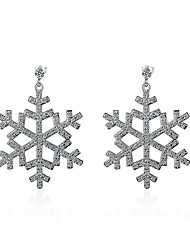 cheap -Women's Crystal Cubic Zirconia Drop Earrings Snowflake Classic Natural Crystal Zircon Earrings Jewelry Silver For Birthday Ceremony
