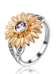 cheap -Women's Band Ring Knuckle Ring Diamond Cubic Zirconia tiny diamond Gold Zircon Alloy Ladies Vintage Fashion Gift Holiday Jewelry Sunflower
