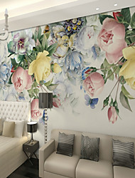 cheap -3D Multicolor Rose Flower Custom Large Wall Covering Mural Wallpaper Fit Bedroom Restaurant TV Background