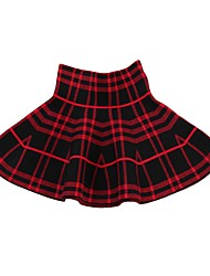 cheap -Kids Girls' Active Floral Plaid Embroidery Cotton Skirt Black