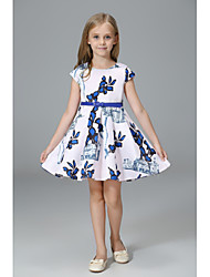 cheap -Kids Girls' Simple / Basic Party / Holiday Solid Colored / Floral / Print Print Sleeveless Cotton / Acrylic / Polyester Dress White 7-8 Years(140cm) / Cute