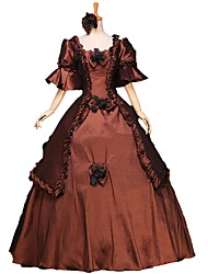 cheap -Fairytale Renaissance Dress Outfits Party Costume Masquerade Women's Costume Brown / Red / Blue Vintage Cosplay 3/4 Length Sleeve Ball Gown Plus Size Customized