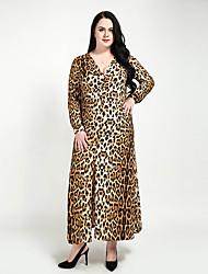 cheap -Women's Maxi Plus Size Brown Dress Vintage Spring Party Club A Line Shift Sheath Leopard V Neck Ruched Split XXL XXXL / Sexy