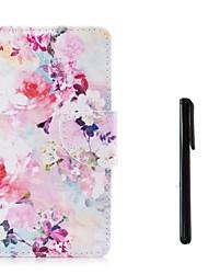 Недорогие -Кейс для Назначение Apple iPhone X / iPhone 8 Pluss / iPhone 8 Кошелек / Бумажник для карт / Флип Чехол Цветы Твердый Кожа PU
