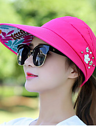 cheap -Women's Canvas Sun Hat-Solid Colored Beaded Summer Navy Blue Fuchsia / Fabric