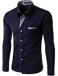 cheap -Men's Work Slim Shirt - Solid Colored Black / Long Sleeve