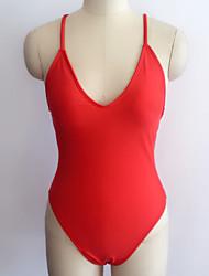 abordables -Femme Actif A Bretelles Rouge Rose Claire Jaune Une-pièce Maillots de Bain - Couleur unie Dos Nu Basique M L XL Rouge / Sexy