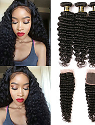 cheap -3 Bundles with Closure Brazilian Hair Wavy Deep Wave Human Hair Natural Black Human Hair Weaves with Baby Hair Gift Fashion Human Hair Extensions / 8A