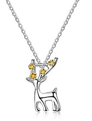 cheap -Women's Crystal Pendant Necklace Deer Animal Ladies Gothic Korean Crystal Steel Alloy Silver 45 cm Necklace Jewelry For Birthday Ceremony